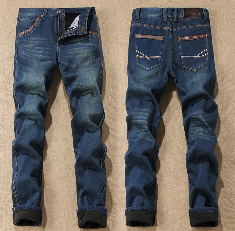 2015 Men's Jeans Fleece Cotton Korean Brand Velvet Trousers Weatherization Casual Straight Fashion - 6XL store