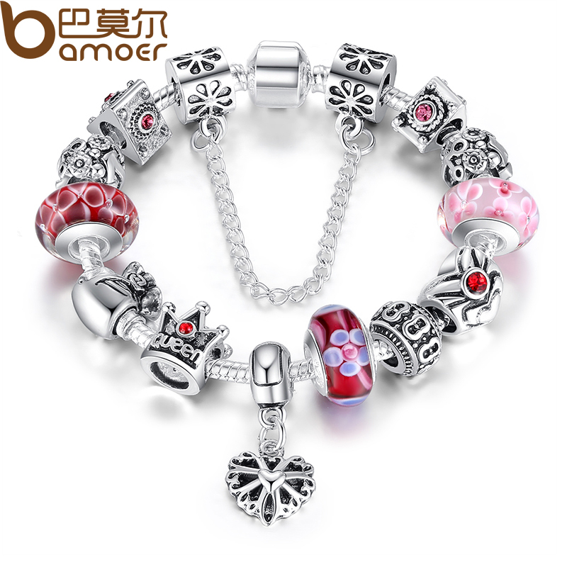 BAMOER Queen Jewelry Silver Charms Bracelet & Bangles With Queen Crown Beads Bracelet for Women PA1823(China (Mainland))