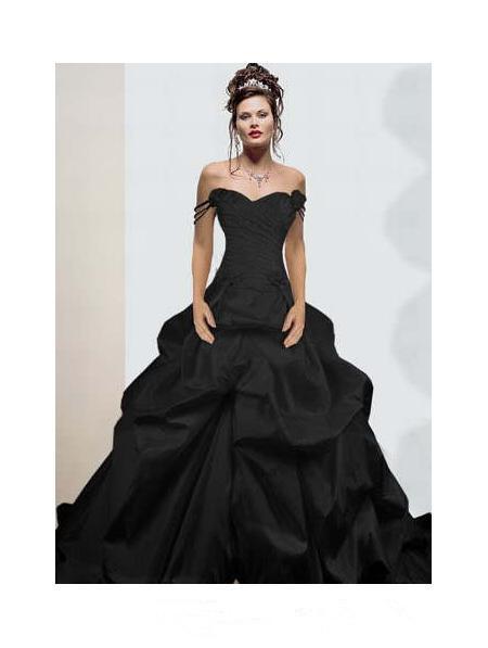 Black Wedding Dress Custom : Vintage design off shoulder ruffles taffeta gothic black