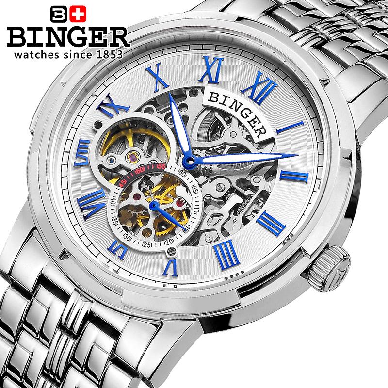 Genuine Swiss BINGER Brand Mens self-wind automatic mechanical watches fashion double hollow male steel luminous waterproof(China (Mainland))