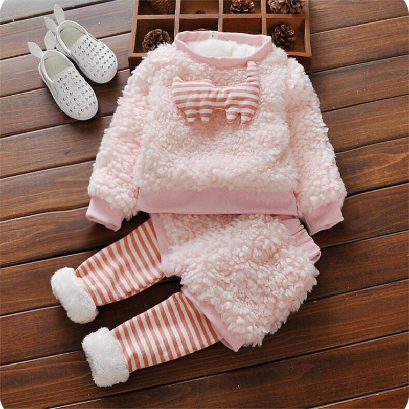 Скидки на 2016 мода девочка одежда устанавливает милый мультфильм шаблон младенческой малыша комплектов одежды для осени и зимы