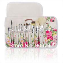 2013 Fashion Professional goat hair Makeup brush kits 12 PCs Brush Cosmetic Facial Beauty Make Up Set tools With rose flower Bag