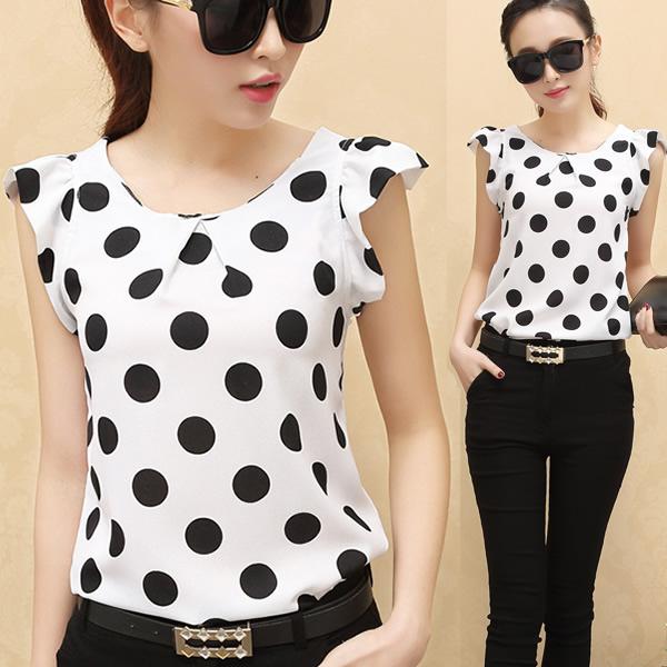 Polka Dots Blouses Shirts Tops