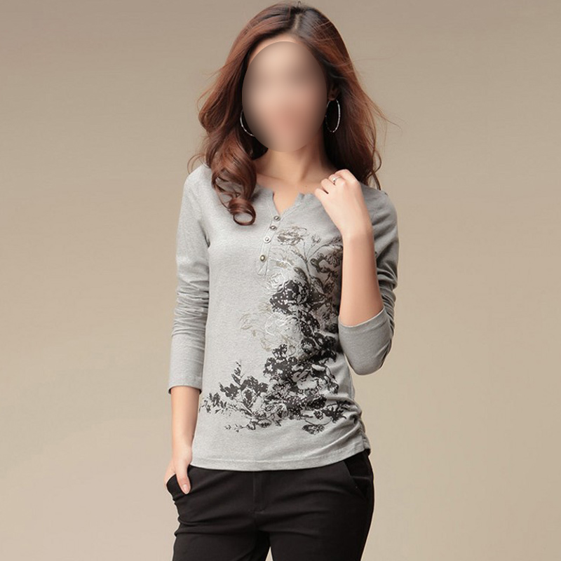 Graphic Tees Womens Tops Fashion 2016 Autumn T Shirt Women Tshirt Printed T-shirt Long Sleeve Cotton Tee Shirt Femme Camisetas(China (Mainland))