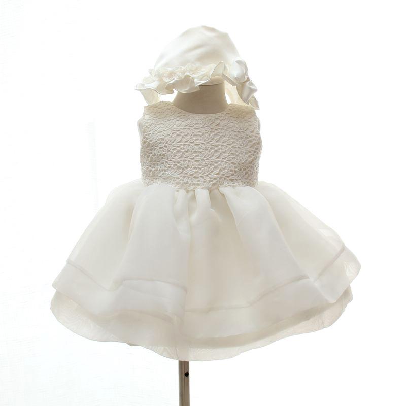 High Quality Baby Girls Elegant Communion Dresses NEW 2015 Child Sleeveless Princess White Party Wedding dress Christening Gown(China (Mainland))