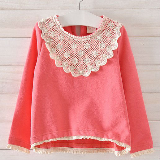 Free shipping,3 colors,2013 new Autumn,Girls shirt,long sleeve,children/kids clothing,Tops tees,Autumn Wear,Lace,Pearl,Wholesale<br><br>Aliexpress