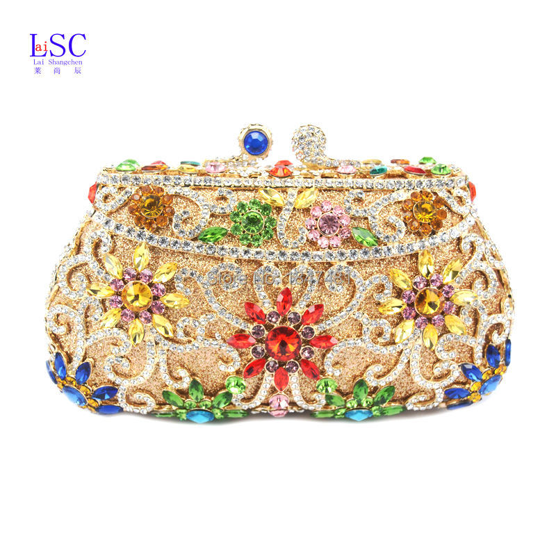 LaiSC Rose Flower Crystal Bag Nuptial Bridal Wedding Clutch Purse Party Pochette Female Floral Evening Clutches Bag SC293(China (Mainland))