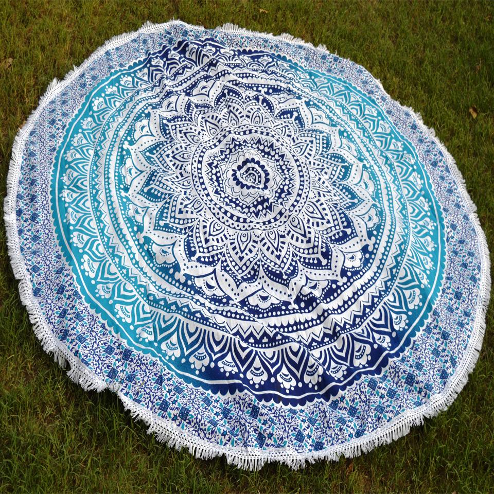 "1.8m 71"" Bobemia Hippie Tapestries Beach round Blankets Mandala Table Cover Wall Hanging Picnic Sheet(China (Mainland))"