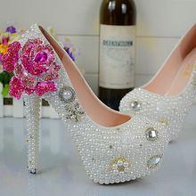 Customize Rhinestone Red Enchantress Pearls Wedding Shoes High Heels Slip On Bridal Shoes Platform Pumps No72(China (Mainland))