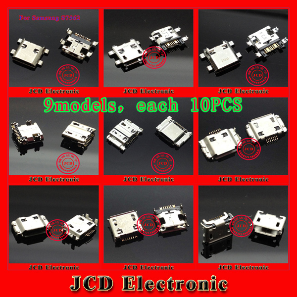 9 models,each 10PCS micro mini USB charging port for Samsung Galaxy 1 2 3 7100 8562 9300 9000 8560 8262 5600 8500 7300<br><br>Aliexpress