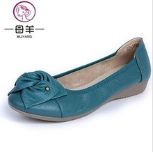 Plus size(34-43) women shoes genuine leather flat shoes woman work shoes newest fashion female casual single shoes women flats(China (Mainland))