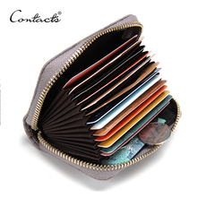 CONTACT'S 2016 New Genuine Leather Women Card Holder Wallets High Quality Female Credit Card Holder Trunk Card holder Coin Purse(China (Mainland))