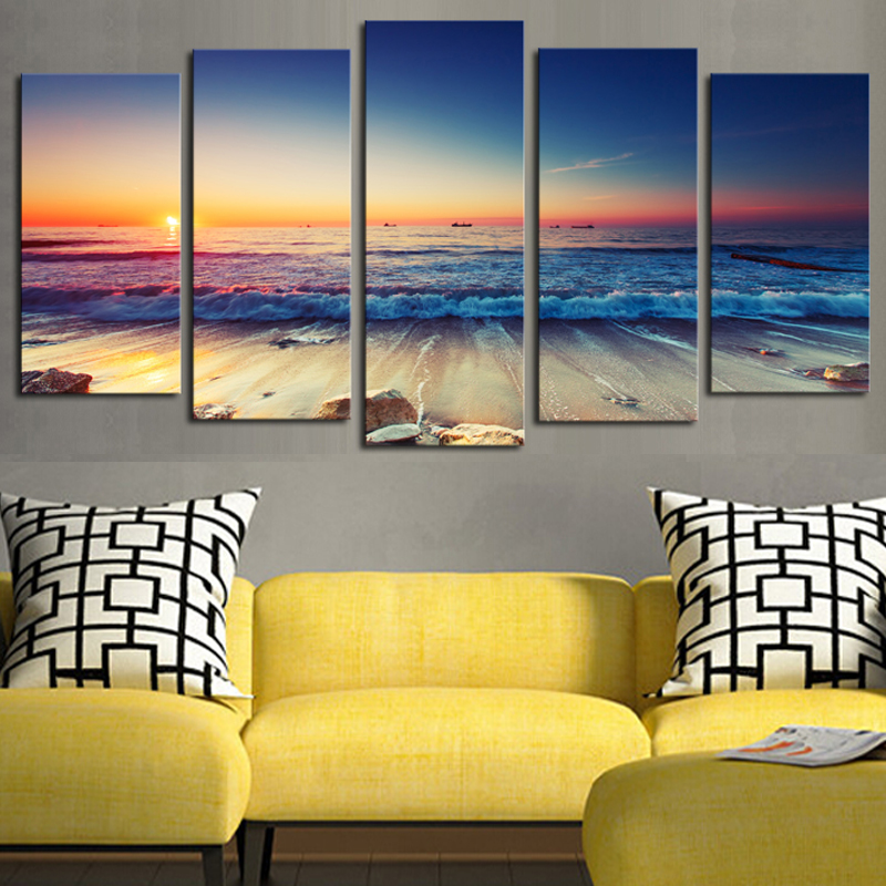 5 panels no frame the seaview modern home wall decor for Modern home wall art