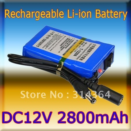 5pcs/lot Portable 12V 2800mAh Rechargeable Battery Pack for CCTV Camera LED Strip wireless transmitter Free shipping