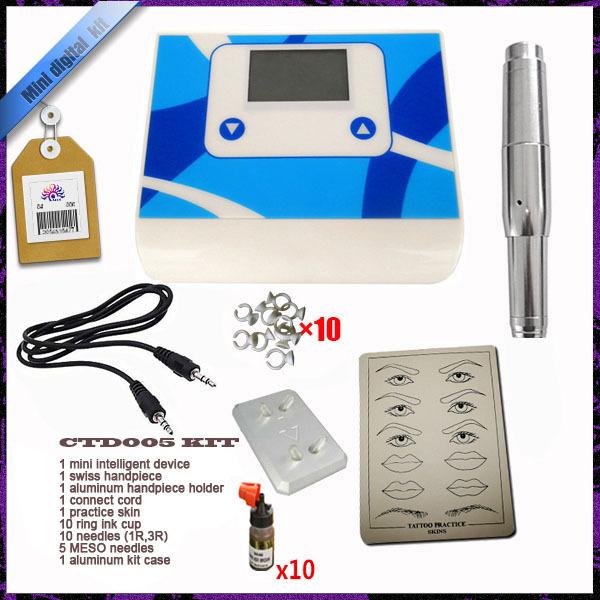 1 Set New 2015 High Quality Permanent Makeup Kit +10 Bottle Ink for Eyebrow lip Tattoo gun pen machine power supply needles #F(China (Mainland))