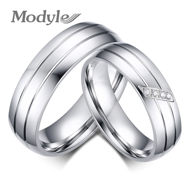 Famous Brand Lovers Rings for Women and Men Engagement Wedding Ring Set Stainless Steel Jewelry with Rhinestone(China (Mainland))