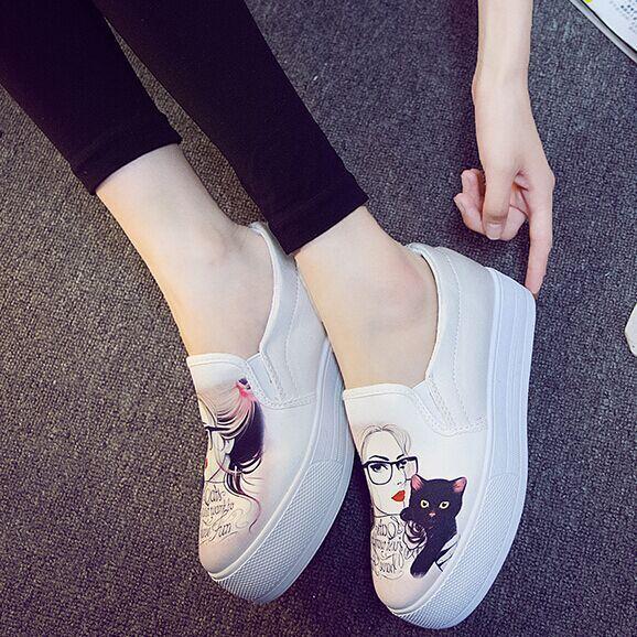 Бесплатная Доставка Круглый носок Женщин Мода HighPlatform Случайные Холст Обувь ...