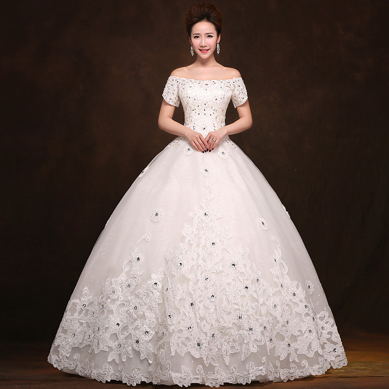 New Brand Ball Gown Fairy Strapless Short Sleeve Bride