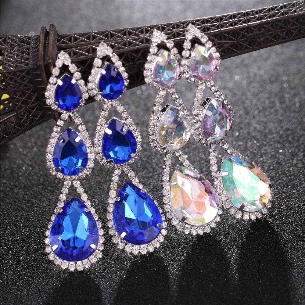 Wholesale big crystal earrings statement for women tassel drop dangle wedding earrings indian jewelry 20Pcs in 1 N084PFZ50 <br><br>Aliexpress