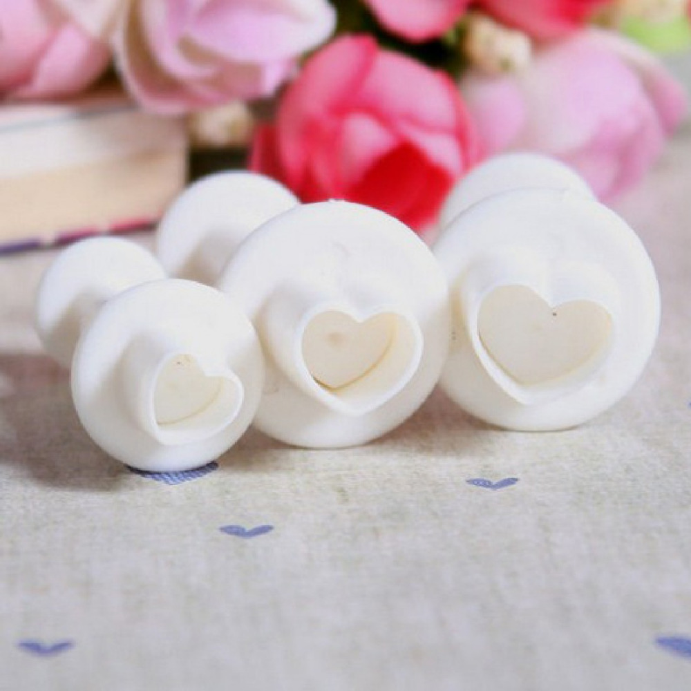 New 2016 1Set/3PCS Love Heart Plunger Cutter Mold sugar craft Fondant Cake Decorating DIY Tool Free Shipping(China (Mainland))