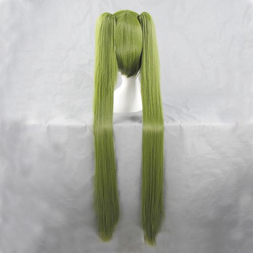 Vocaloid Hatsune MIKU Senbon Sakura Olive Green Long Ponytails Cosplay Wig