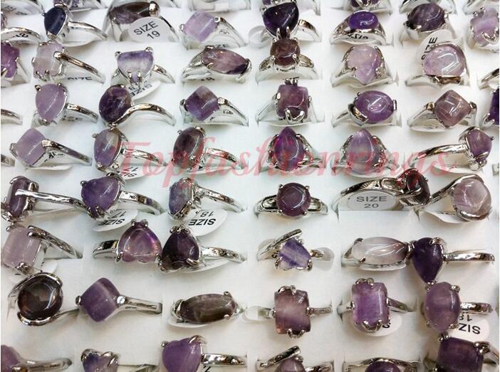 Wholesale lots 50pcs amethyst stone silvery lady's ring Wholesale women's rings Fashion Jewelry