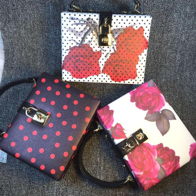 Новый ретро мода роуз шаблон дизайна мода волновой точки пу коробка сумка женская сумочка мини-посланник мешок щитка 3 цветов