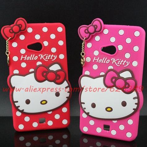 Cartoon Lumia 540 Cases Hot Selling Polka Dot Hello Kitty Silicone Case Cover For Microsoft Nokia Lumia 540(China (Mainland))