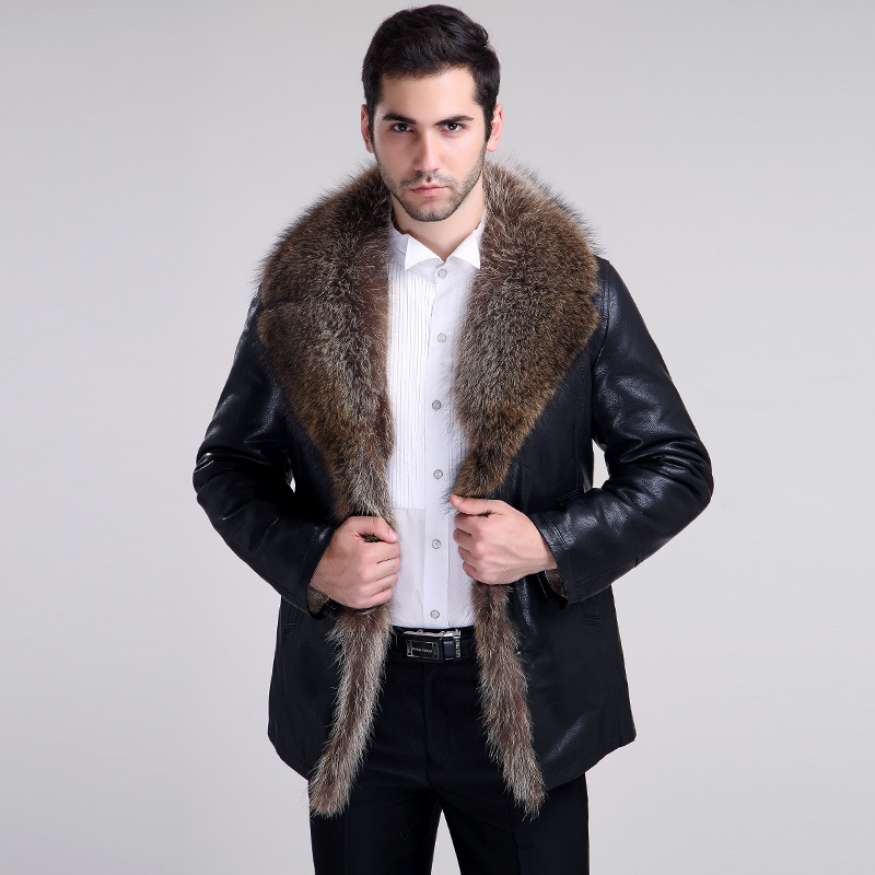 2015 winter mens leather fur coat sheepskin overcoat outerwear coats for men genuine leather Raccoon fur Plus size Dropship(China (Mainland))