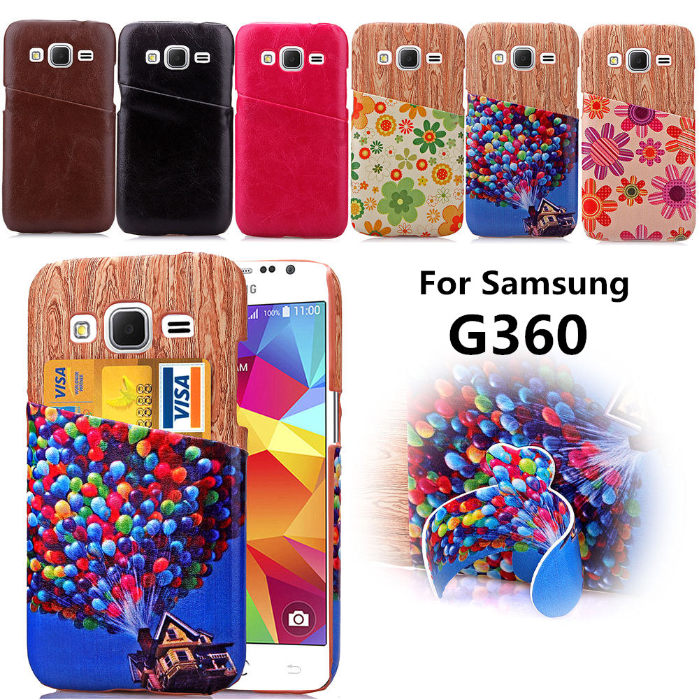 For Samsung Galaxy Core Prime G360 G3608 Unique Stained wood grain Back Case Leather Cases Card Slot Case Cover 360 SM G360(China (Mainland))