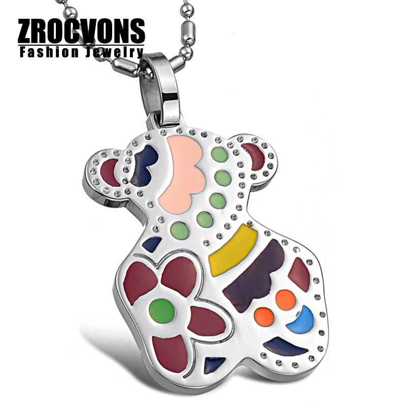 Fashion Jewelry Wholesale New Color Teddy Bear Necklace Cute Girls Titanium Steel Necklaces Pendants(China (Mainland))