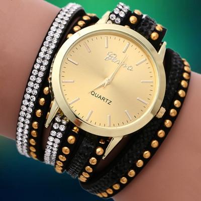 Hit South Korea han edition fashion Geneva velvet diamond bracelet watch Geneva two laps around the bracelet watch relogio pulso(China (Mainland))