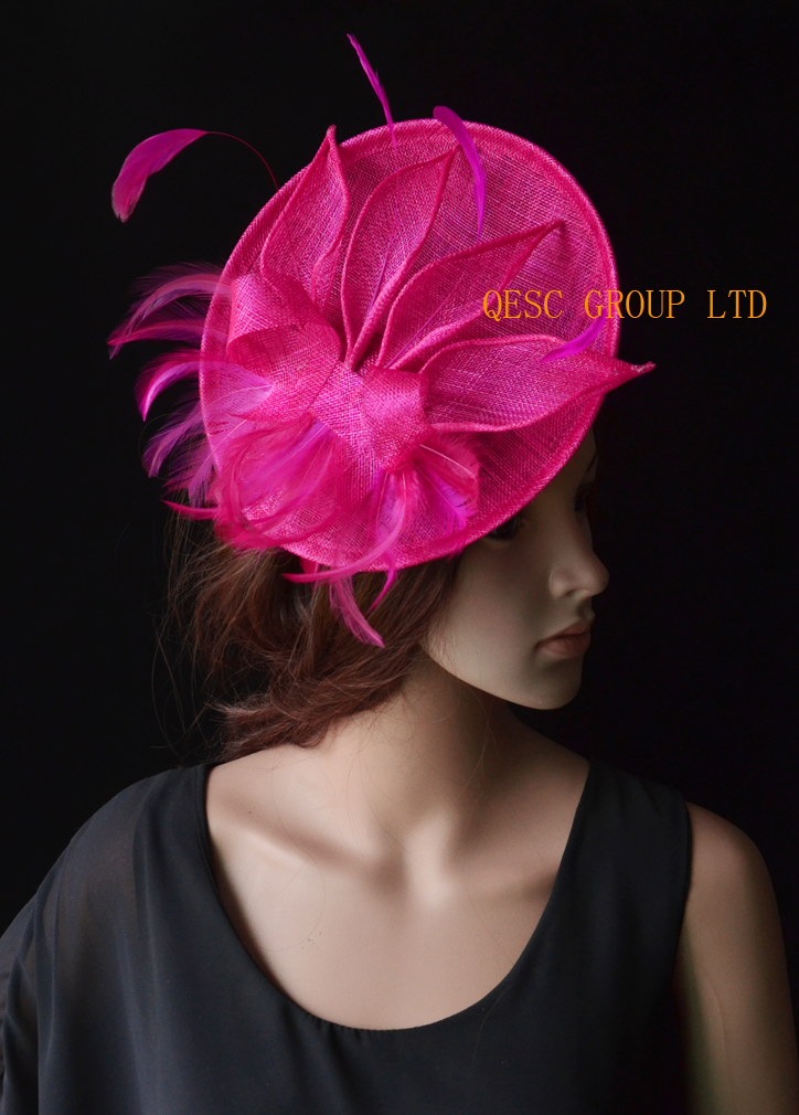 Hot pink fuchsia Big sinamay fascinator hat with sinamay leaves&feathers for Tea Garden party Royal Races Kentucky derby.(China (Mainland))