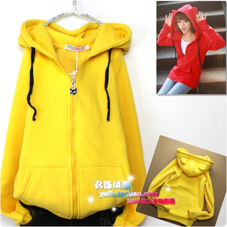 cat hoodie ears long sleeve thickening hooded loose top fleece jacket animal ear zip - EmmaFashion FUnShop store