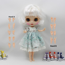 ICY Free shipping Nude Blyth Doll bjd neo 130BL136 JOINT body White hair with bangs/fringes matte frosted Face gift neo(China (Mainland))