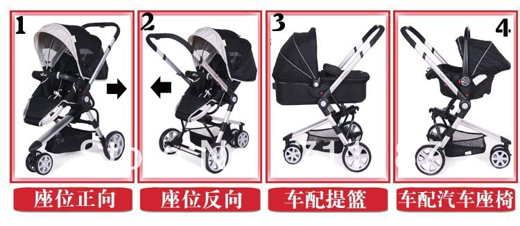 Comfortable Carrycot and Baby Car Seat and Stroller 3 In 1,High Landscape Aluminum Stroller Pram Folding Umbrella Pushchair<br><br>Aliexpress