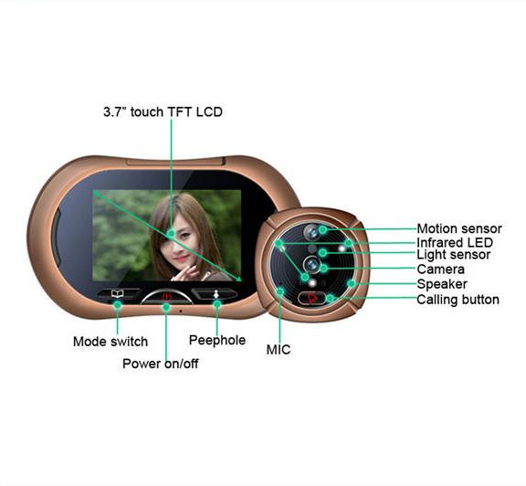 """Free Shipping Luxury iHome Video Doorphone 3.7"""" Motion detectin Anti-Burglary Alarm Video Doorphone Night Vision Door alarm(China (Mainland))"""