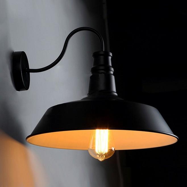 220v Diameter 26cm Retro Vintage Industrial Edison Wall Mount Light Sconces Aged Steel Finished Antique Bedside Lamps Black<br><br>Aliexpress
