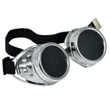 NEW Cyber Goggles Steampunk Welding Goth Cosplay Vintage Goggles Rustic-Bright silver & black