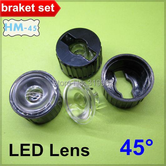 50sets LED lens Black bracket 1W 3W High power Condensing Lens Angle 45 degree holder LED lamp lens Concave surface (HM-45)