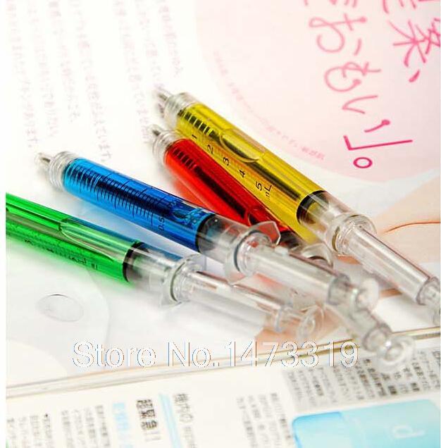 INJECTION WRITING NEEDLE BLACK INK BALL POINT PEN SYRINGE SHAPE BALLPEN TOY GIFT(China (Mainland))