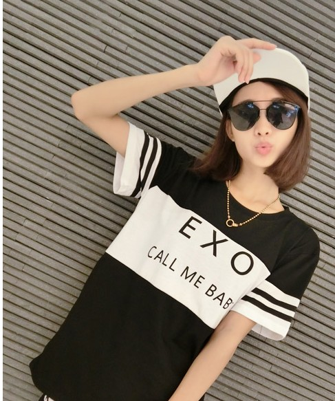 Got7 Printed EXO&CALL ME BABY T shirt Women Girls Harajuku Summer Short Baseball Tops Couple T-Shirt White Cotton Tee Shirt New(China (Mainland))