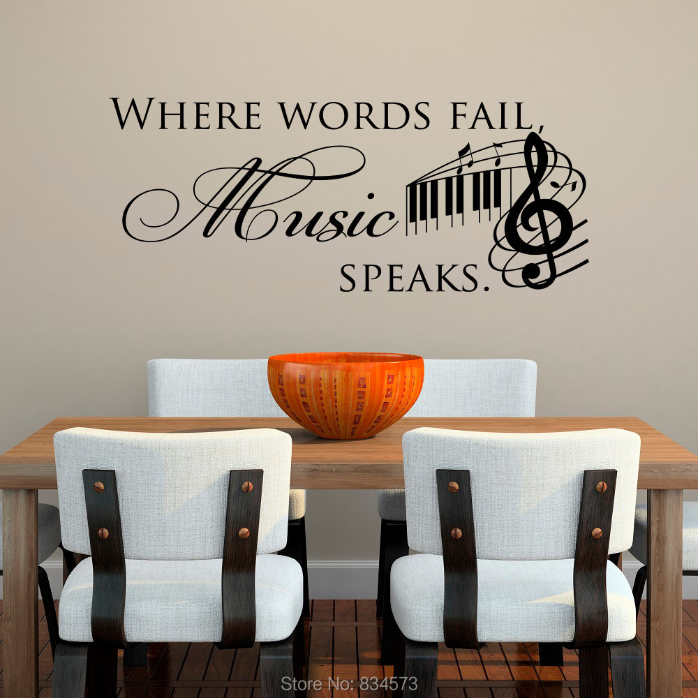 buy where words fail music speaks wall art stickers wall decal home diy. Black Bedroom Furniture Sets. Home Design Ideas