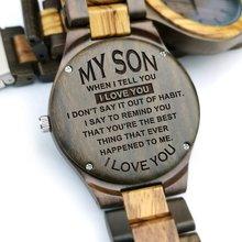 A mi hijo-eres capaz de lograr algo que tu mente de madera grabado de los hombres de madera de sándalo reloj de moda(China)
