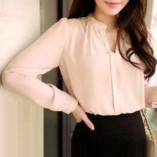 2016 Spring Women Chiffon Shirt Blouse Ladies White Pink Elegant Sexy V-neck Long Sleeve Shirts Female Office Shirt Plus Size(China (Mainland))