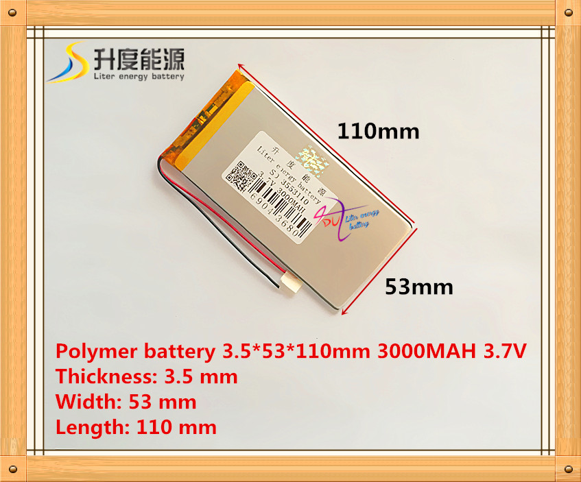 best battery brand rechargeable batteries 3.7V 3000mah polymer lithium Li-ion battery for tablet pc 7 inch MP3 MP4 3553110(China (Mainland))