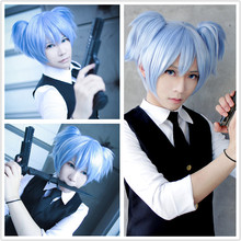 MCOSER New And Cheap Cute 30cm Short Ice Blue Pigtails Cosplay Assassination Classroom Shiota Nagisa Anime Wig(China (Mainland))