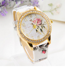 2015 New Brand Leather Strap Watch Clock Hours Gifts Colorful Flower Wristwatch Quartz Casual Watches Women Dress Watch Fashion