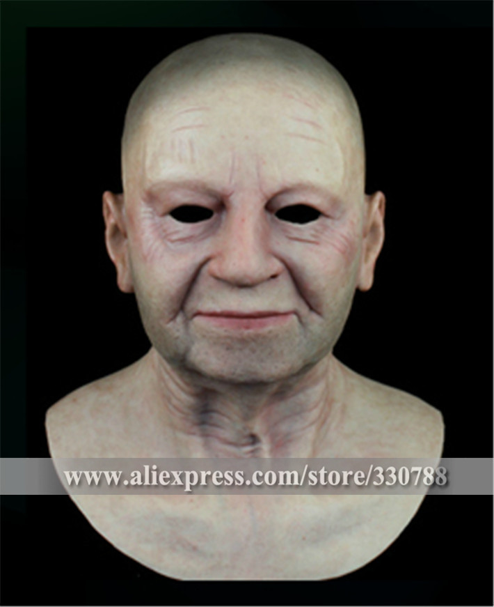 [SF-N6] old man mask bulk masquerade masks men, silicone face mask, full head halloween - Guangzhou Angel Company store