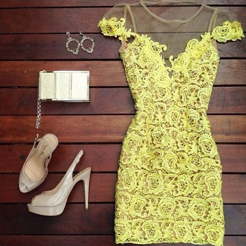 2015 new vestido, vestidos casual , women dress, cute lace dress,yellow blusas original dress LD34009 - No.1 works store